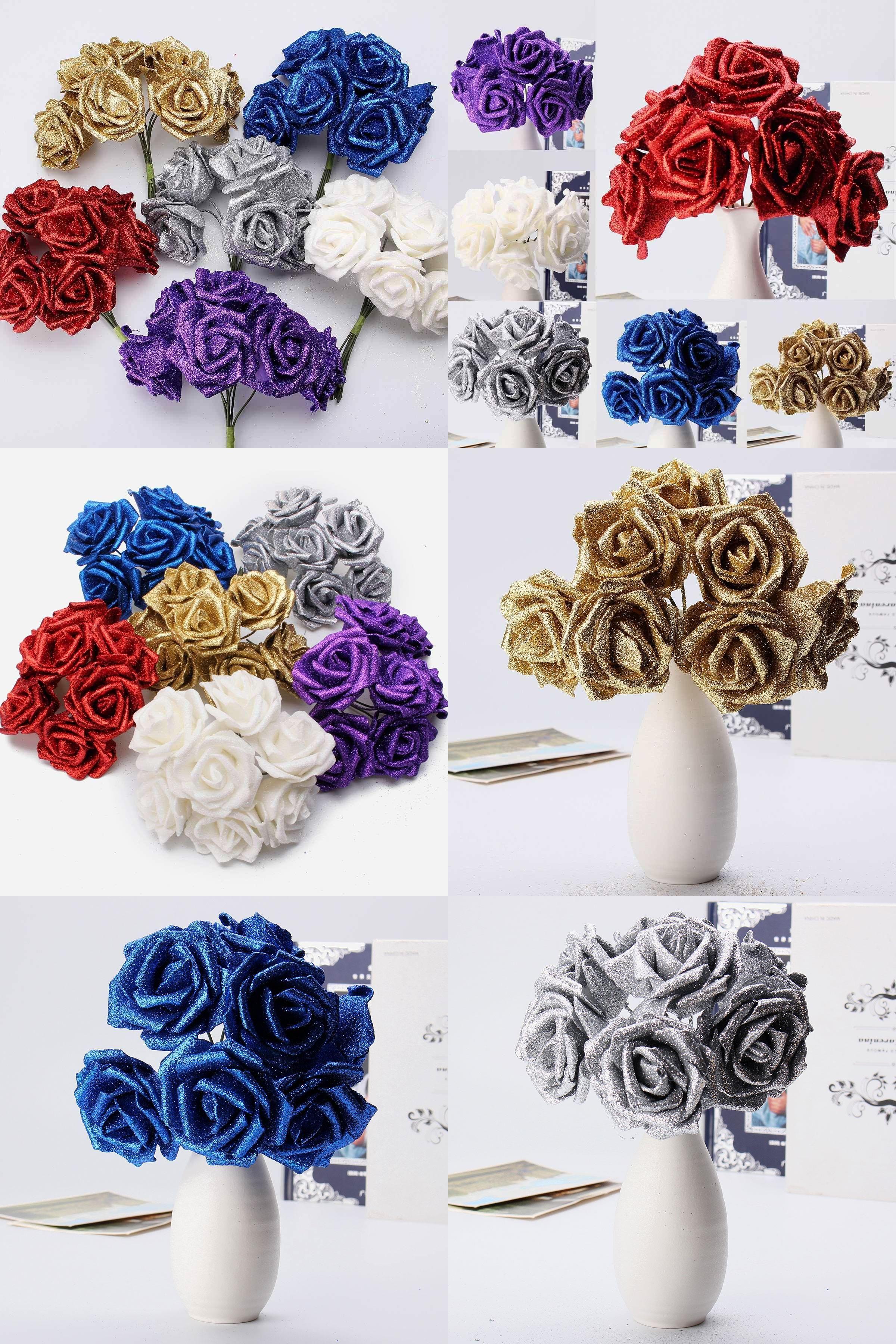 Visit to buy charming wedding bridal flower bouquet 7 headsbunch visit to buy charming wedding bridal flower bouquet 7 headsbunch foam glitter izmirmasajfo Choice Image
