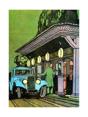 Giclee Print: At a Filling Station, C1930 by Leslie Carr : 24x18in