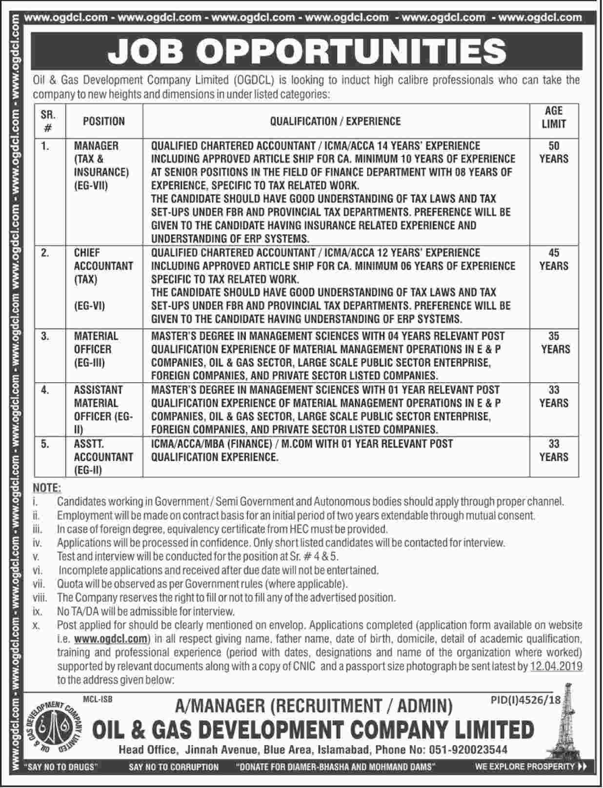Oil And Gas Development Company Limited Ogdcl Jobs 2019 Job