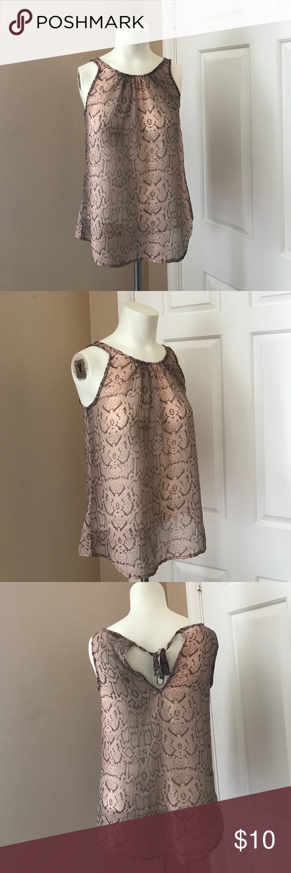 Old Navy Tank Gently worn, good condition. Sheer tank. Tie back detail. Soft pink and grey combo. Old Navy Tops Tank Tops
