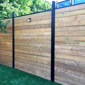 Enhance The Beauty And Security Of Your Yard By Installing This Valuable Slipfence Black Aluminum Fence Rail Privacy Fence Designs Fence Design Backyard Fences