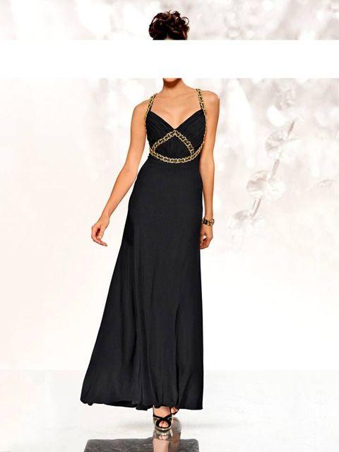 Abendkleid Schwarz Träger mit Goldketten | Pinterest | Abendkleid ...