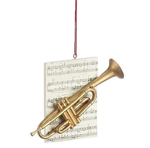 Trumpet Brass Instrument Resin Stone Christmas Ornament Figurine