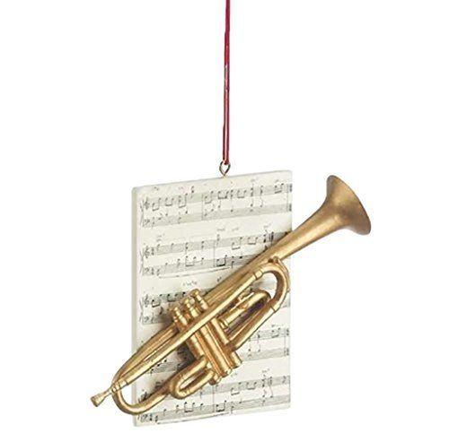 Trumpet Brass Instrument Resin Stone Christmas Ornament Figurine