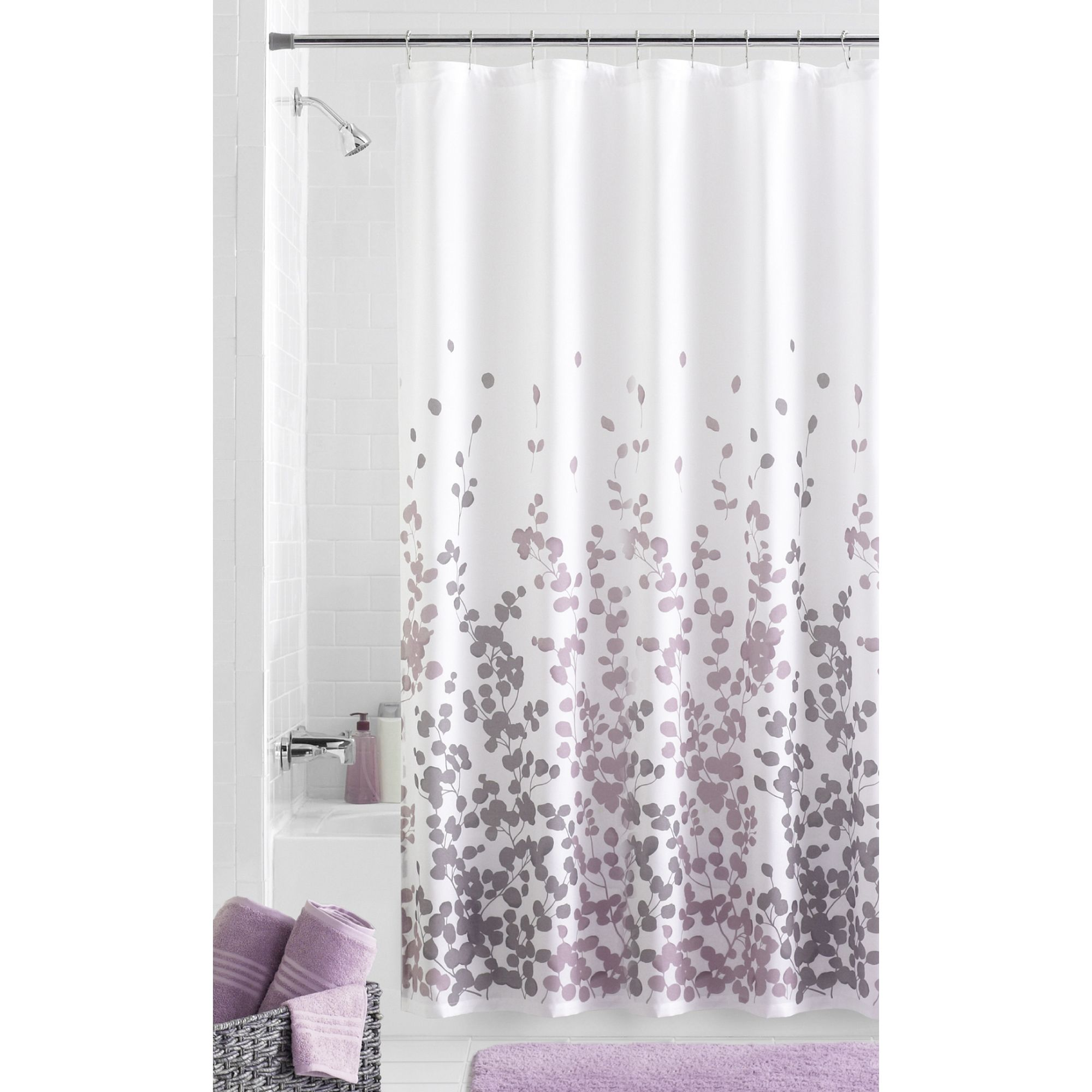 Home In 2020 Fabric Shower Curtains Purple Bathrooms Gray