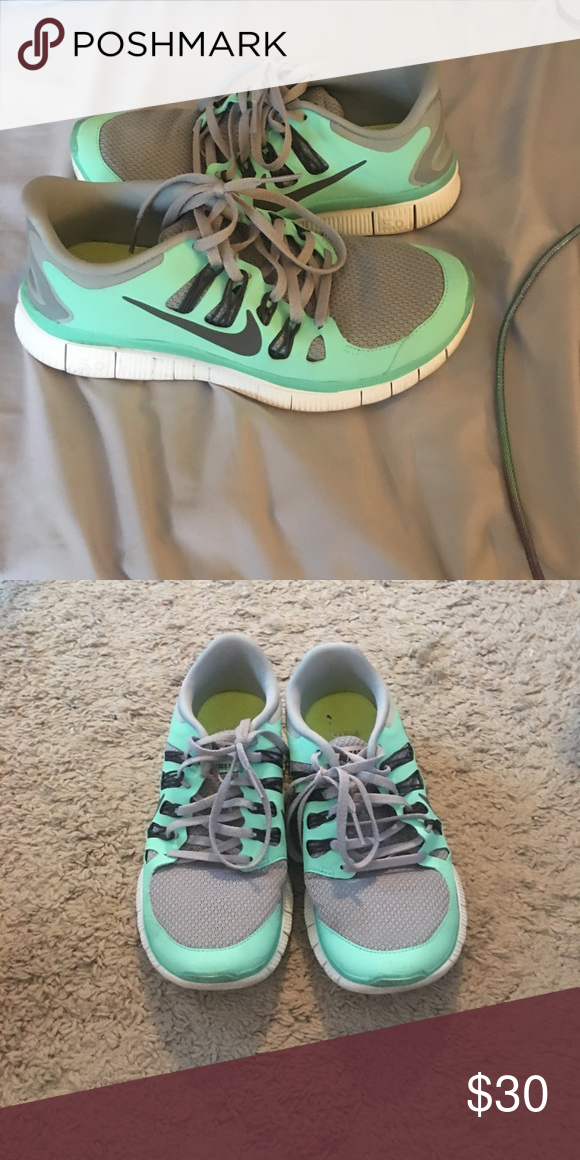 Mint green Nike Free Runs Only worn a few times! Good