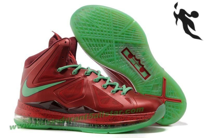 purchase cheap 28ce4 6bf05 ... Nike Lebron X (10) Christmas Red Green Style 541100 600 Retro ...