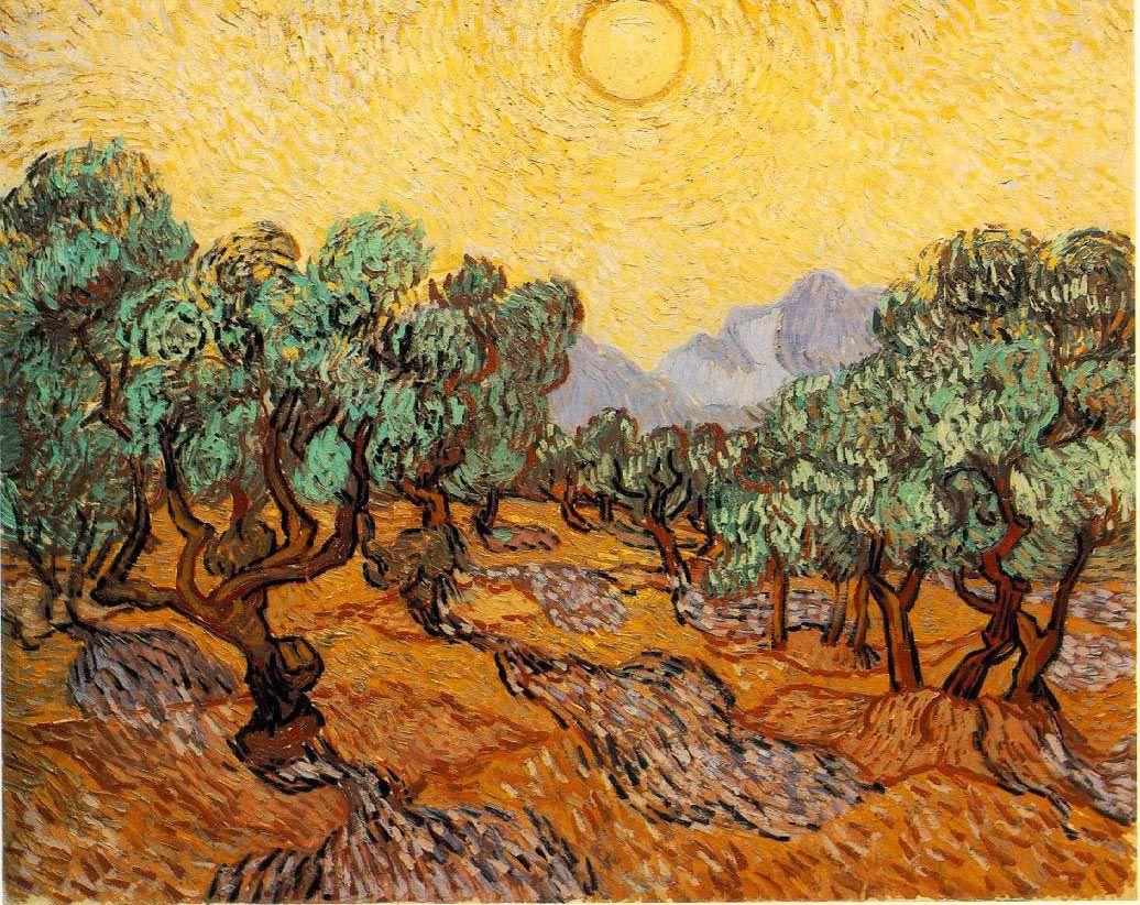 Oliviers avec ciel jaune et soleil, Vincent Van Gogh, 1889 Impressionnisme, huile sur toile
