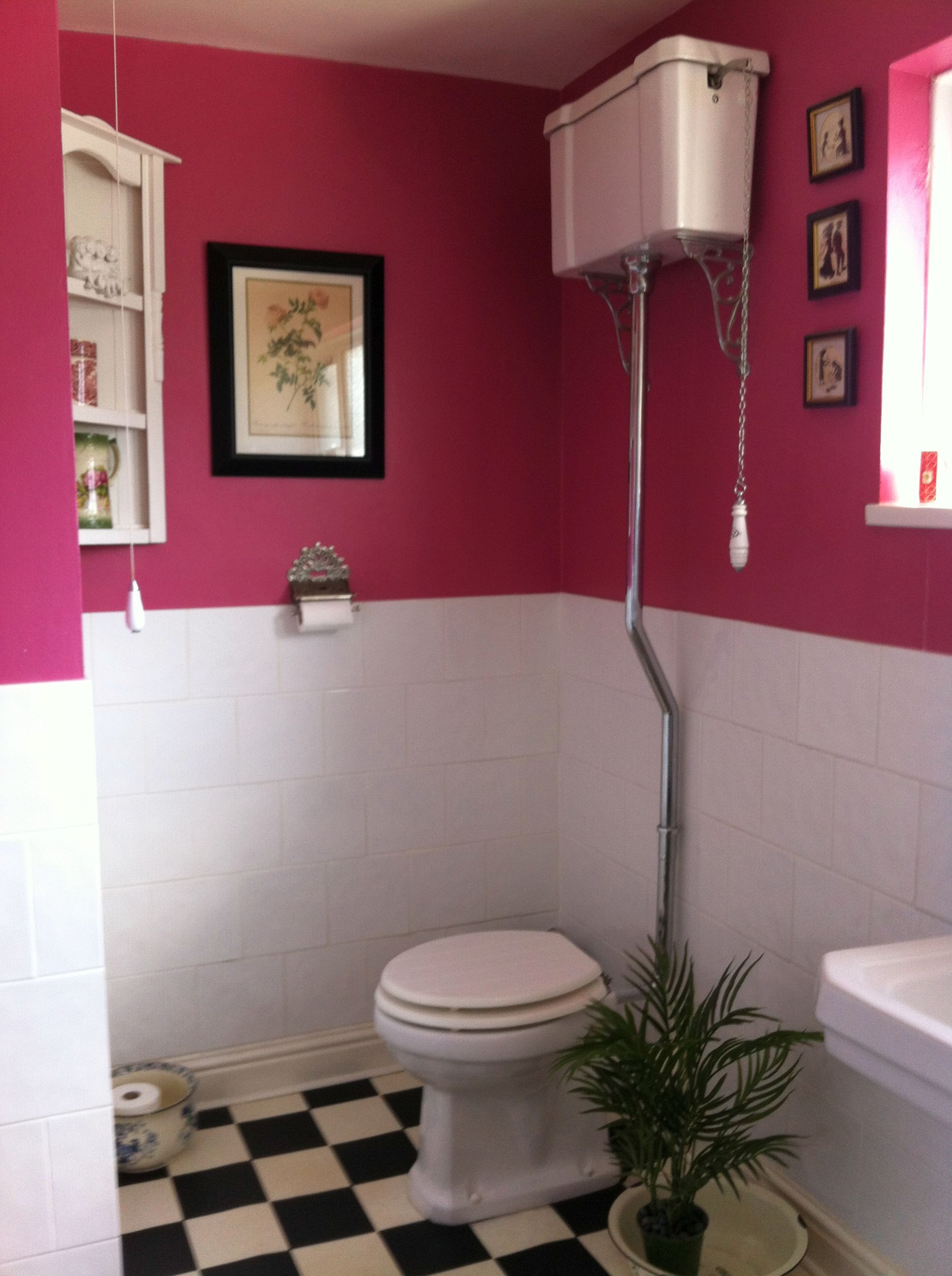 Edwardian style toilet with high cistern