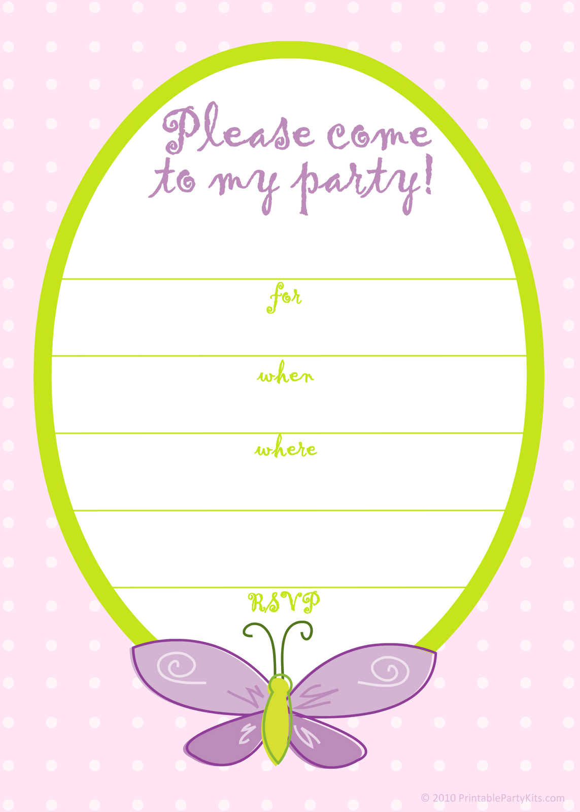 Free Printable Party Invitations: Free Pink Butterfly Girls Birthday ...