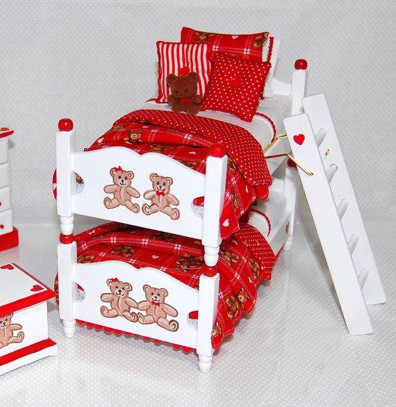 Teddy Bear Boys Bunk Bed Set Dollhouse Miniature By Miniaturelane