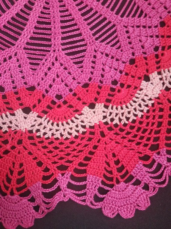 Red Rochet Doilies Large Crochet Doily 25 6 Round Tablecloth Home
