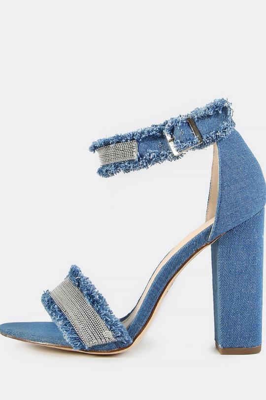 d1913d9242f Frayed Denim Bead Ankle Strap Heels