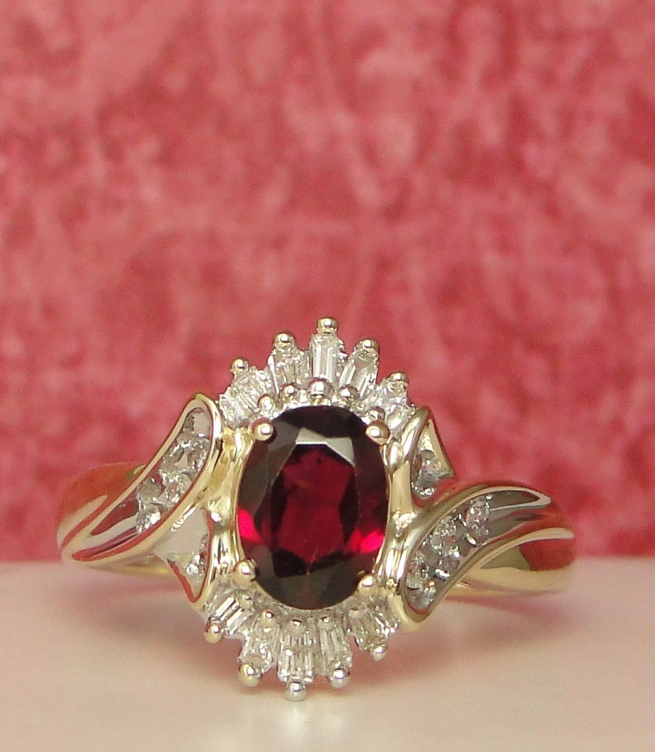 Natural Cherry Red Spinel Diamond Ring Solid Yellow Gold ...