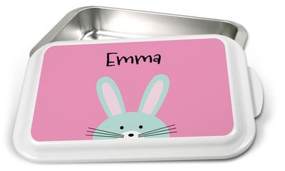 """Peeking Bunny Cake Pan by The Stationery Studio! Serve in style with our custom cake pan. Beautiful Nordic Ware aluminum baking pan with snap on lid. The lid is printed with your custom design printed directly on the lid for a heirloom quality piece. Measures 13"""" x 9"""". The baking pan is oven-safe but the lid is not oven-safe. Hand-washing recommended. Your choice of personalization style to be used. Positioning and ink color only as shown."""