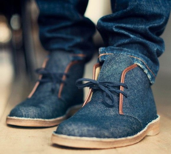 Clarks Denim 'Desert Chukka Boots', crepe soles with jeans uppers