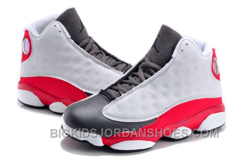 30686b982805df Kids Jordan 13 Retro Grey Toe 2014 White Team Red Flint Grey Online ...
