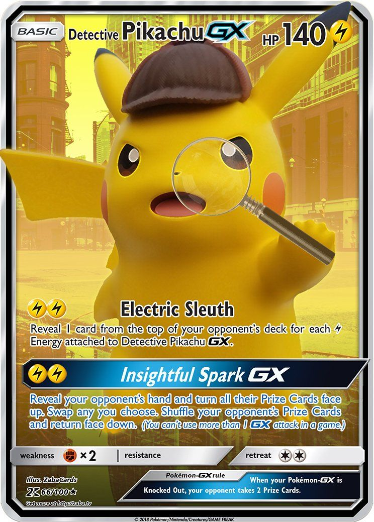 Detective Pikachu Gx Custom Pokemon Card Pikachu Pokemon Card