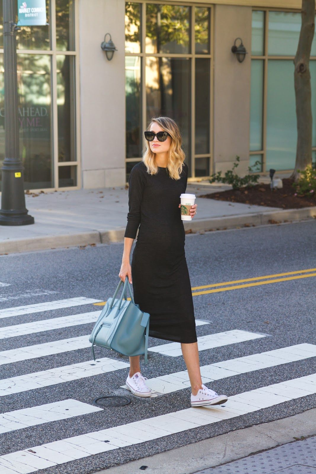 19cdddbed3e7 Knit Midi Dress and Sneakers (Little Blonde Book)