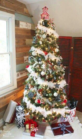 I M Really Loving The White Feather Boa Idea Cool Christmas Trees Rainbow Christmas Tree Christmas Tree