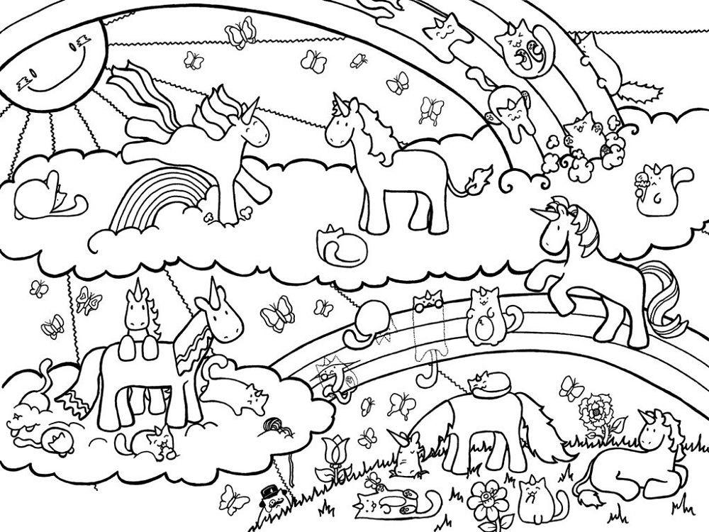 rainbow unicorn kids coloring pages - photo#26