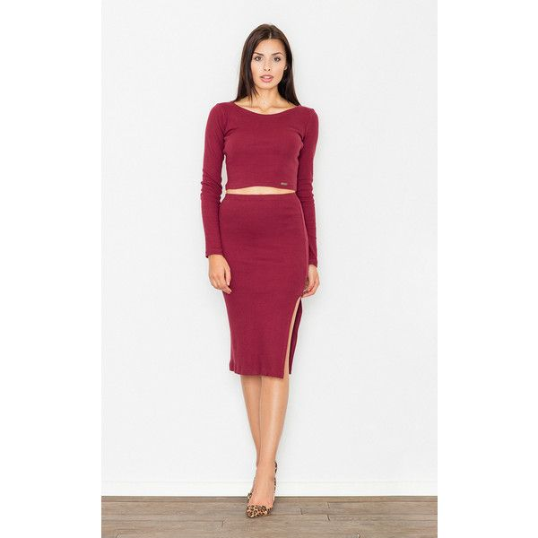 FIGL Deep Red Two Piece Dress (£47) ❤ liked on Polyvore featuring dresses db91f3e4d