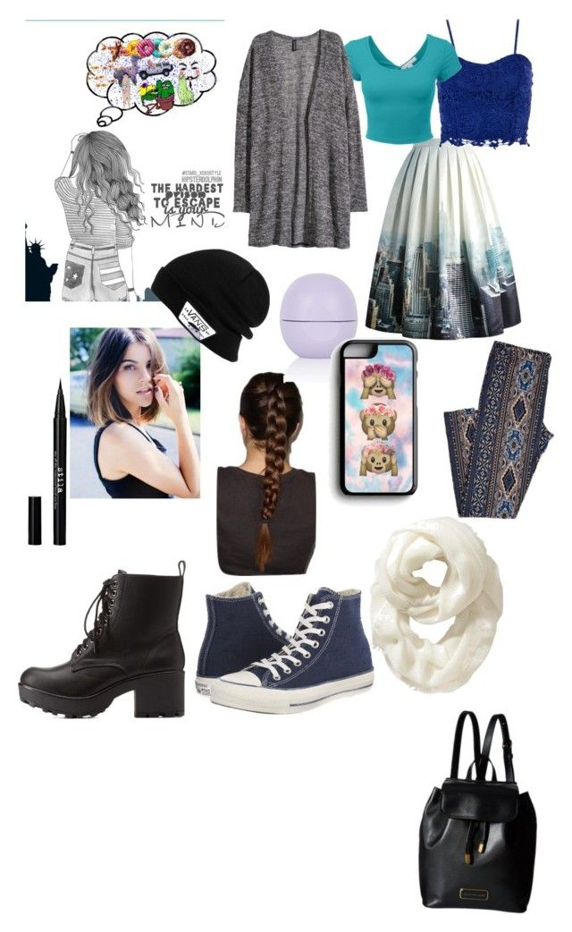 """""""Walk in The City"""" by jazzylea9 ❤ liked on Polyvore featuring Chicwish, Dorothy Perkins, H&M, Topshop, Stila, Beauty Secrets, Converse, Charlotte Russe, Samsung and Vans"""