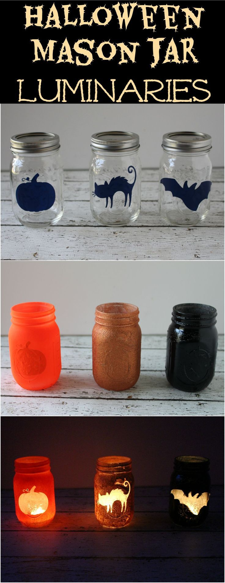 Halloween Mason Jar Luminaries - a crazy easy Halloween decoration - Halloween Decoration Ideas Pinterest