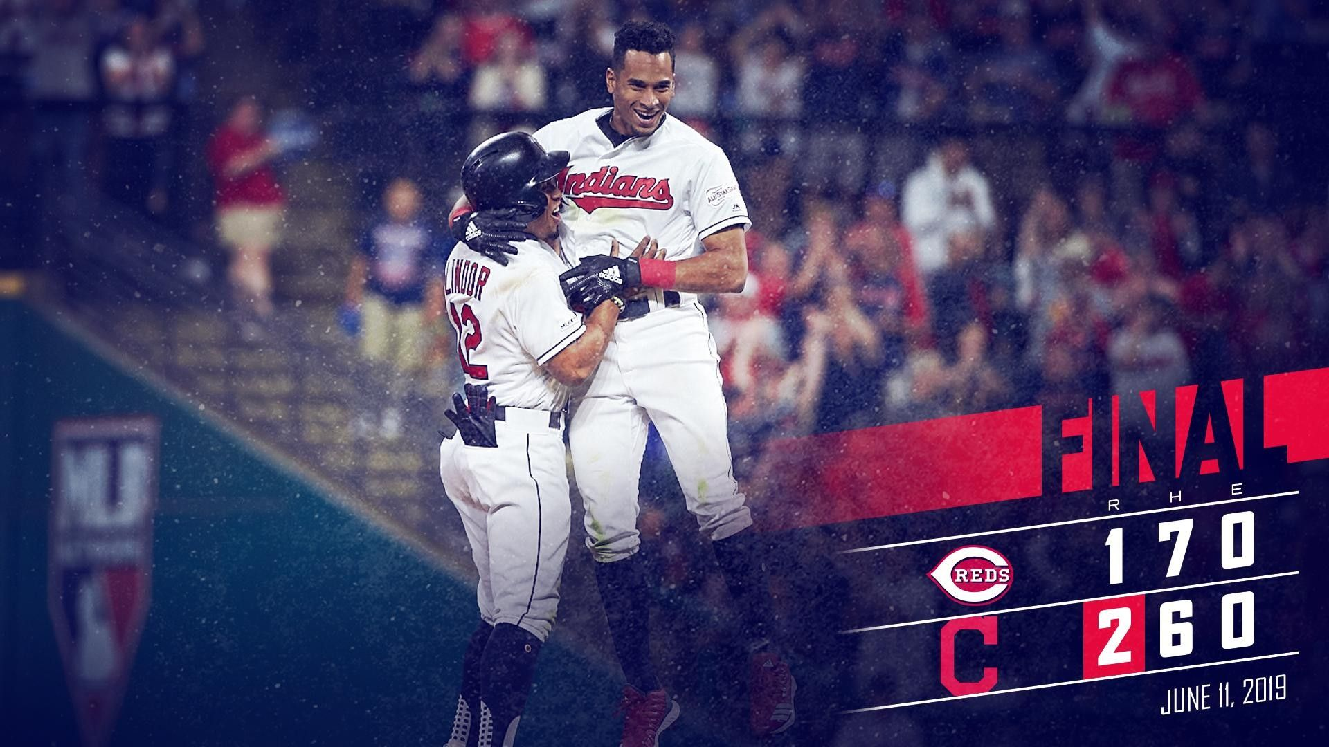 Cleveland Indians Francisco Lindor Celebrates With Oscar Mercado After Mercado Hit His First Career Walk Off Indians Baseball Cincinnati Reds Cleveland Indians
