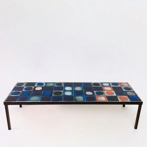 Roger Capron Table Basse Planetes Bleue Et Orange Table Basse Ceramique Table Basse Meubles En Teck