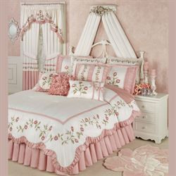 Photo of Blush Rose Embroidered Floral Comforter Bedding