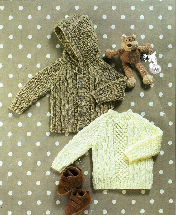 baby / childs aran jacket sweater knitting pattern pdf cable hooded ...