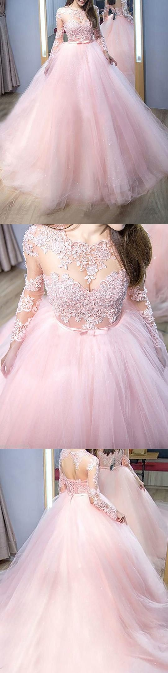bc6bfff0a3 Ball Gown Pink Prom Dress Lace African Plus Size Long Sleeve Prom Dress    VB4163 in 2019