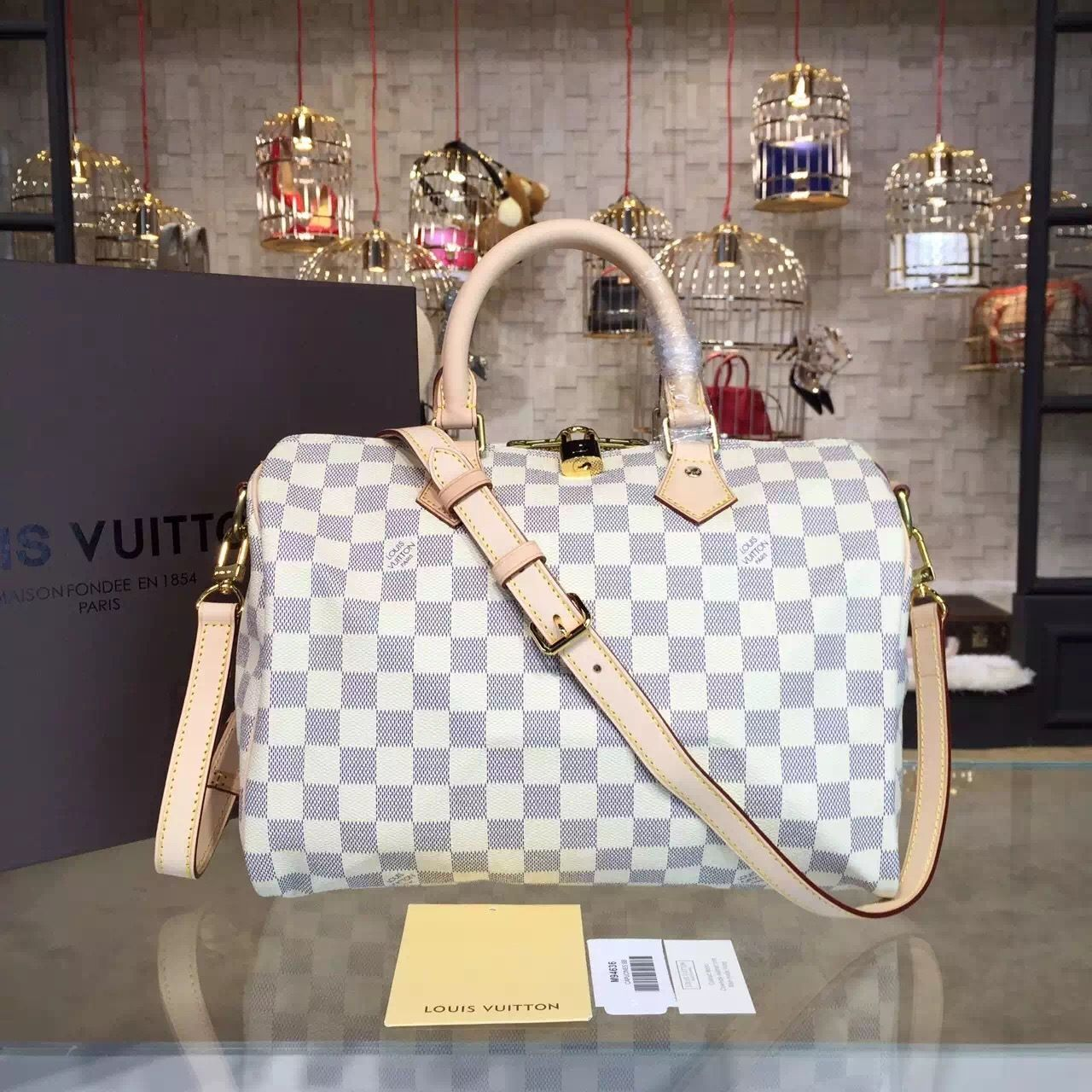 ceec44ab4574 Louis Vuitton Speedy Bandouliere 30 Damier Azur Canvas Spring Summer 2015  Collection N41373 - My Luxe Fashions