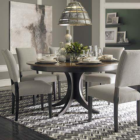 "custom dining 60"" round pedestal tablebassett furniture"