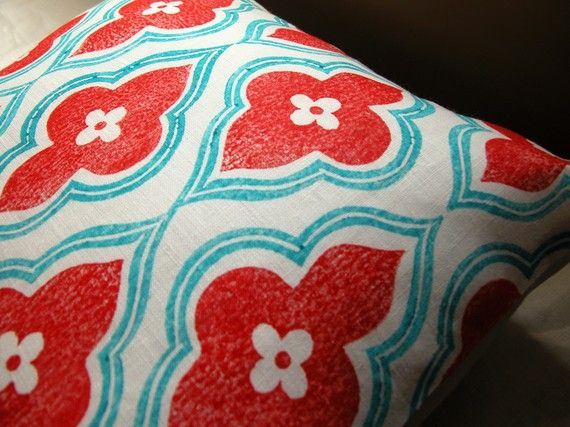 Red And Turquoise Hand Printed Linen Ogee Design Home Decor Pillow Case