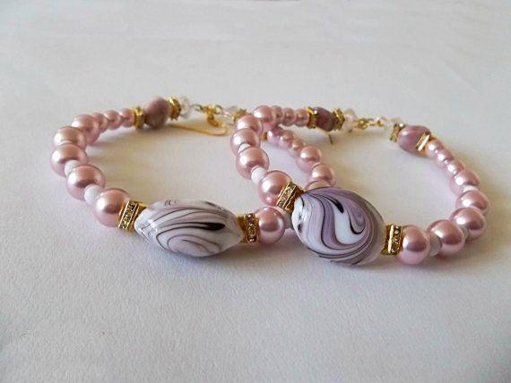 Pink Jasper & Pink Pearl Hoop Earrings Creamy by HeavenlyVirgo, $14.99