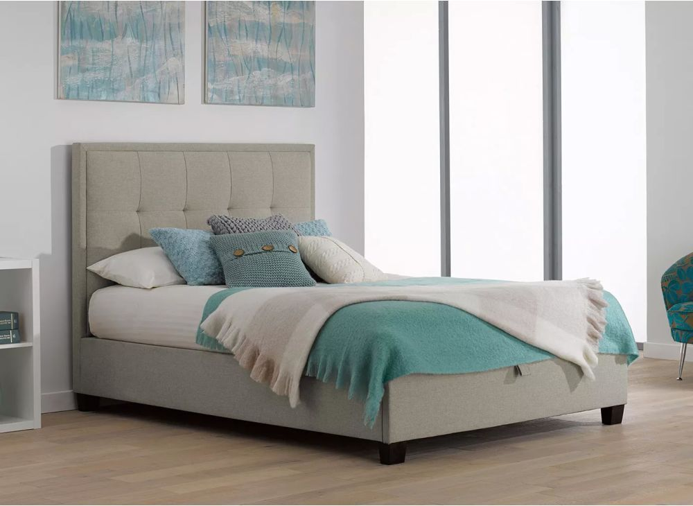 Evert Fabric Ottoman Bed Frame Oatmeal Ottoman Bed