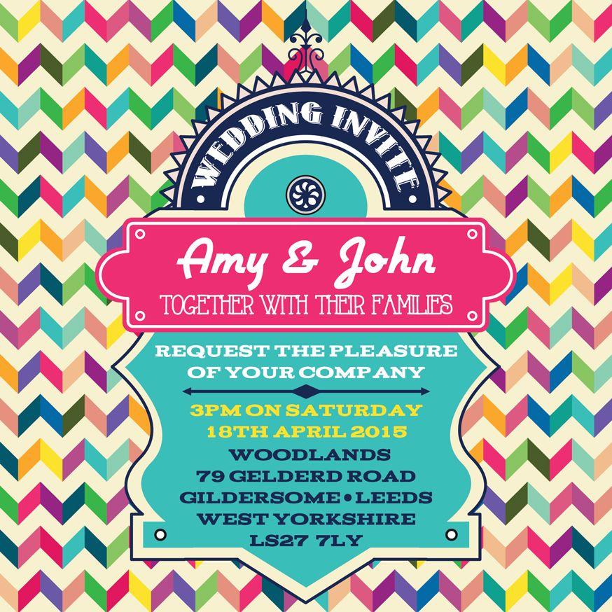 Retro wedding invitations, bright, vibrant, multicoloured wedding ...