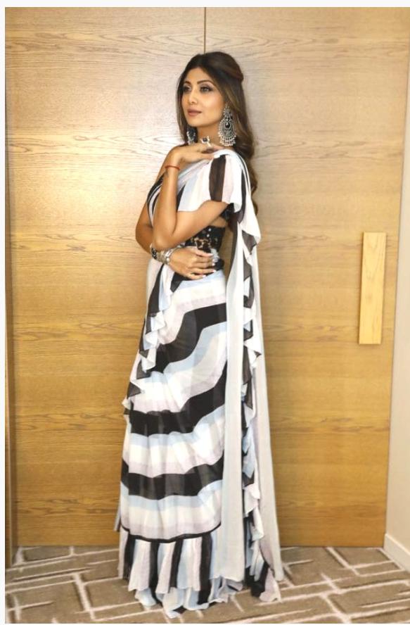 ac11e510a72477 Shilpa Shetty Kundra in black and white ruffle saree | Saree in 2019 ...