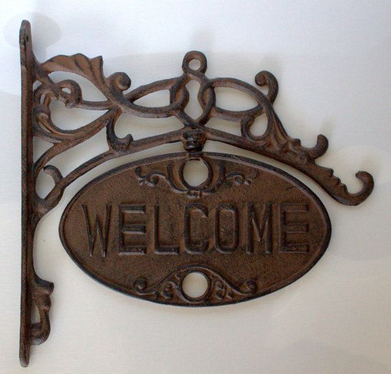 Elegant WELCOME / GO AWAY Rusty Sign by Uptown by UptownVintage, $59.00