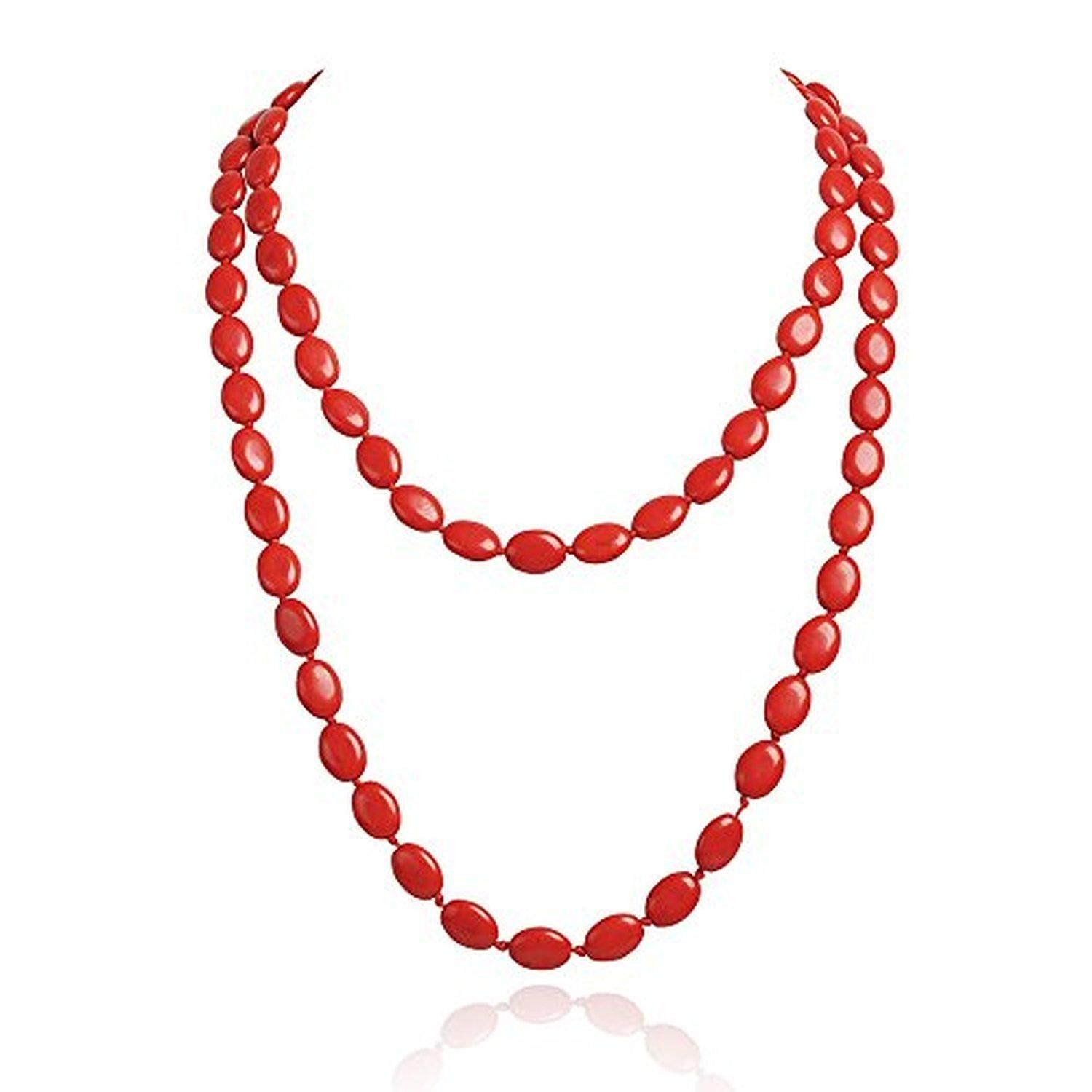 Jane stone Coral Red Beaded Trendy Prom Party Jewelry Clothing Evening Long Necklace (Fn1274-Red) - Brought to you by Avarsha.com