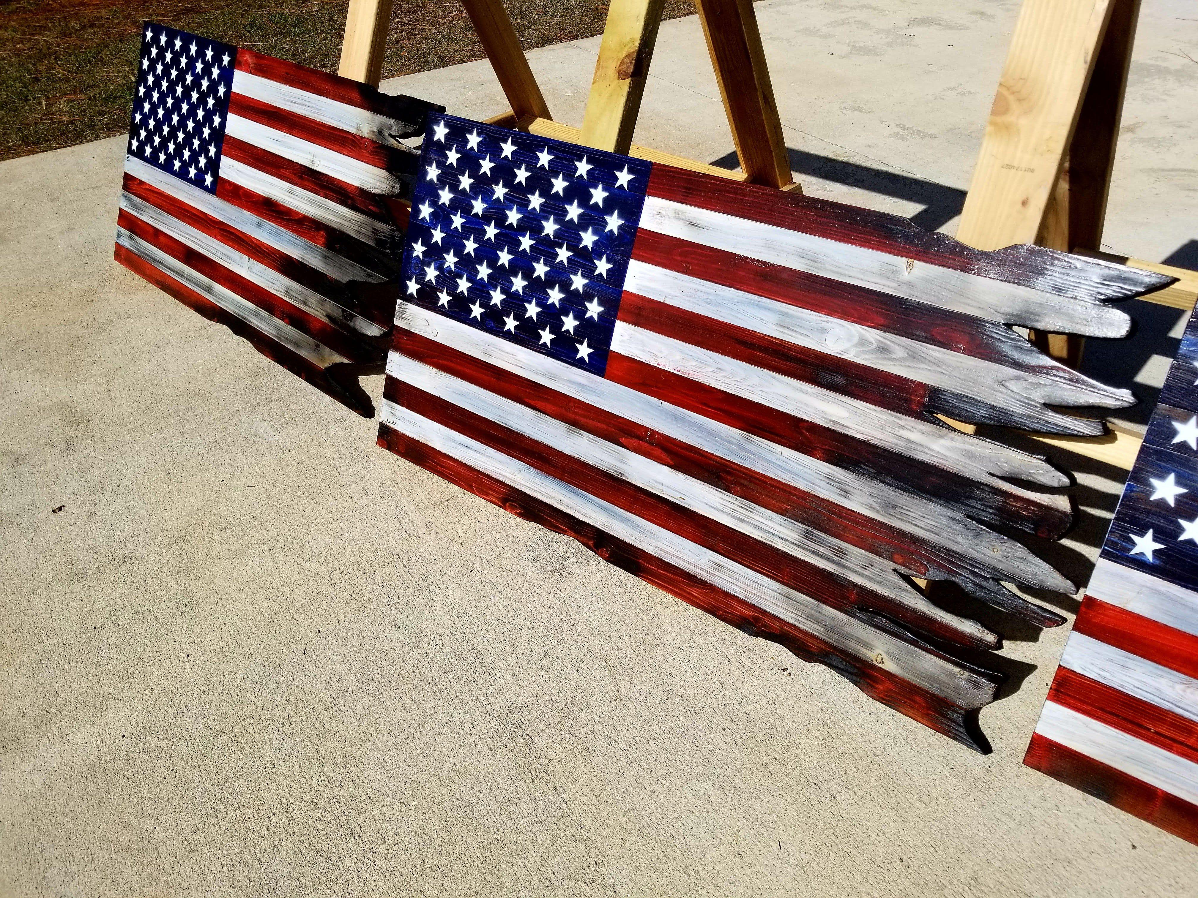Crafty Woodworks United States Farmhouse American Flag Wood Rustic American Flag Wood Flag