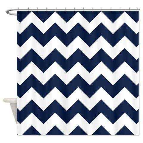 Chevron Shower Curtain Navy Blue Hot Pink White Zig Zag Stripes OR Customize Colors Standard Ext