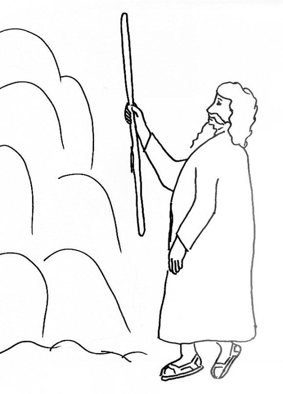 Bible Story Coloring Page For Moses And Water In The Wilderness