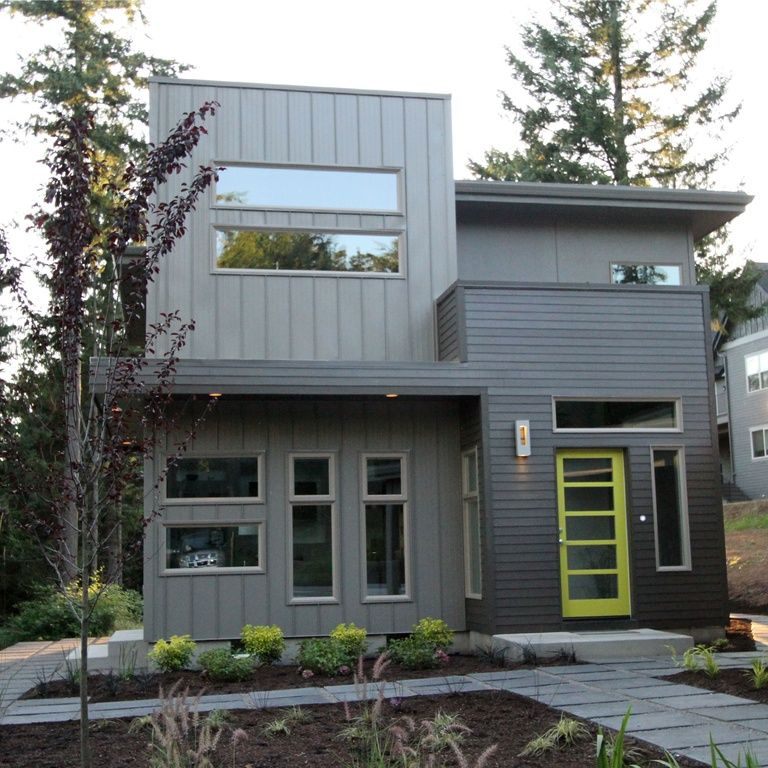 Modern Exterior Of Home With Pathway, Transom Window
