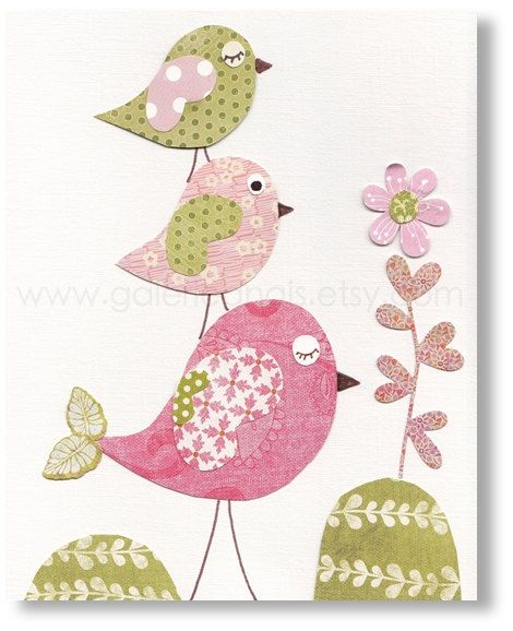 Bird nursery art for children nursery decor baby nursery for Chambre 8x10