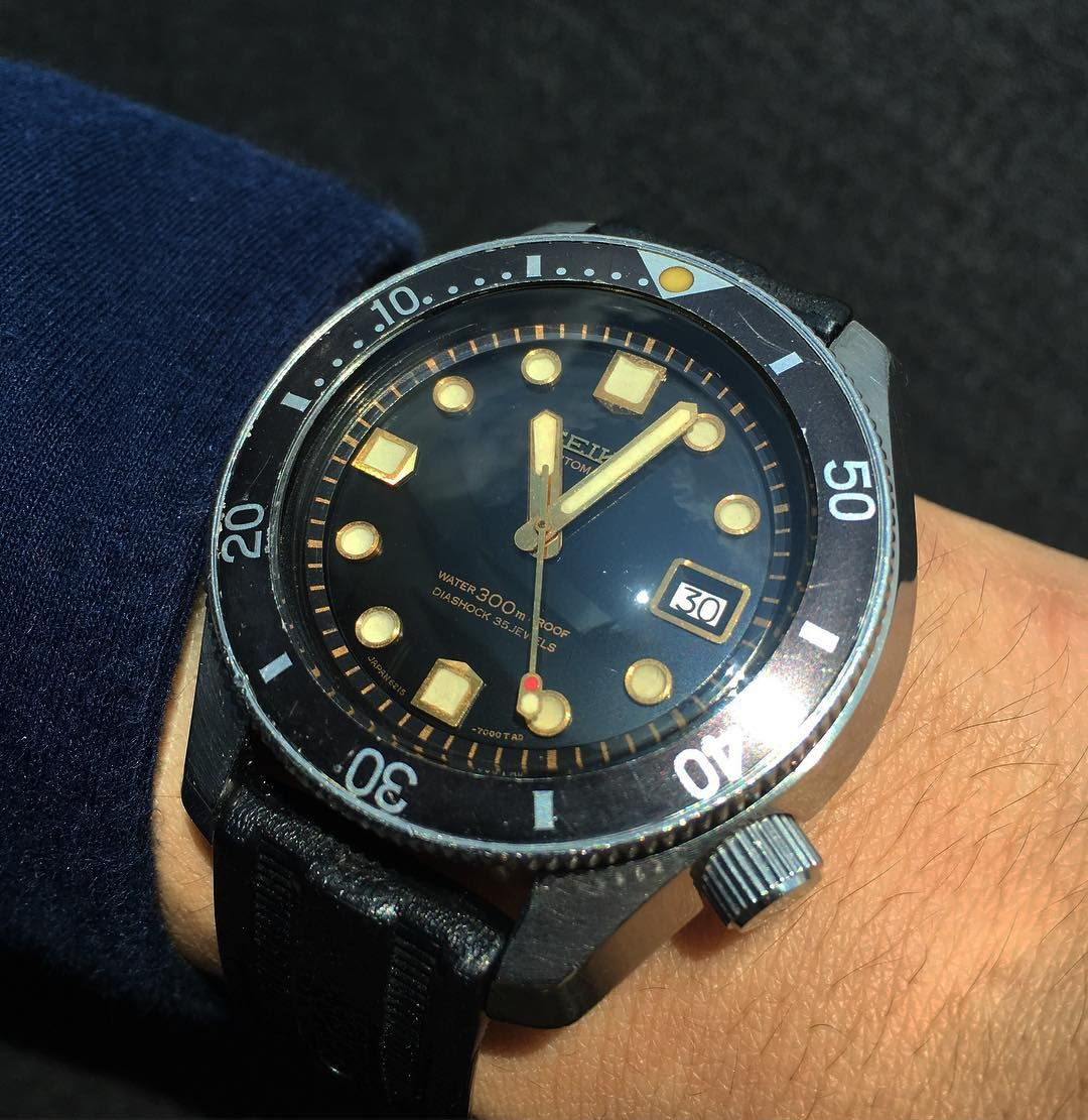 Changing it up today with an important vintage Seiko diving watch the  6215-7000 and the original XGL strap by jwlife37  rolex  submariner 47df681cf4