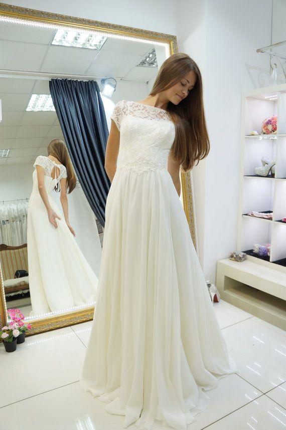Chiffon wedding dress, Nikoletta weddind dress, beach wedding dress ...