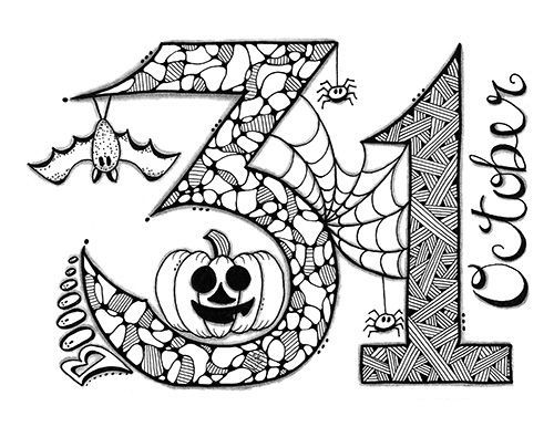 Halloween Zentangle Coloring Page Zentangle Coloring Pages